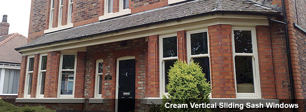 Cream Vertical Sliding Windows